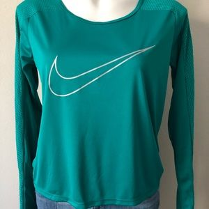 Nike Dri-Fit Teal Green Long Sleeve Running Top